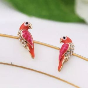 Parrot gemstone gold earrings